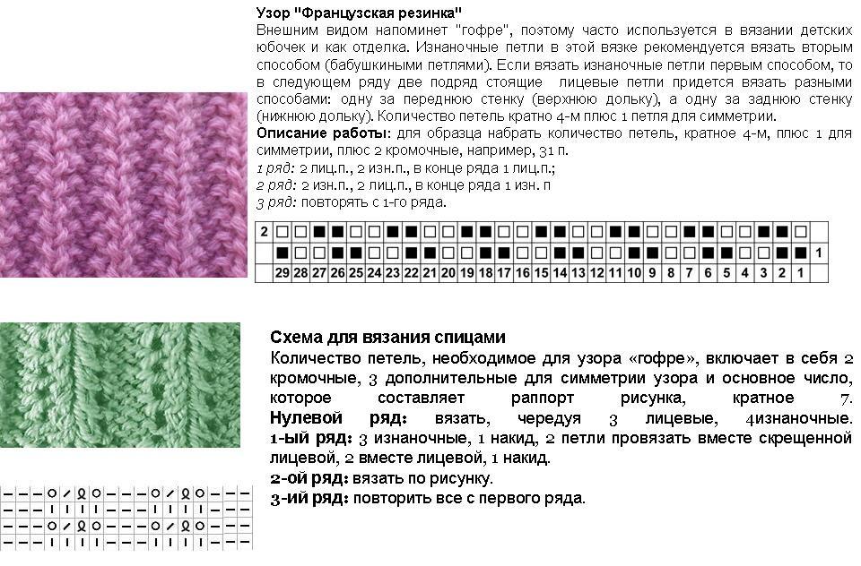 Японская резинка спицами схема вязания 6