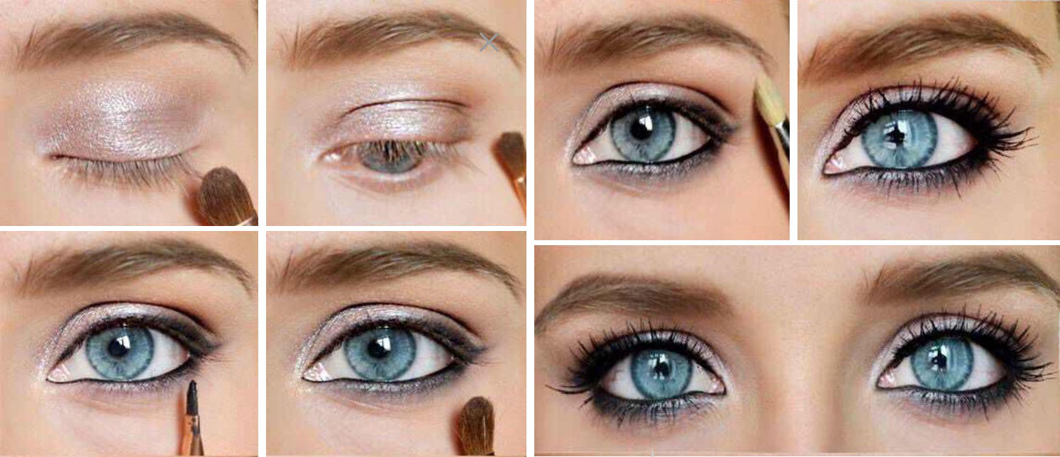 Вечерний макияж для голубых глаз пошаговая фото