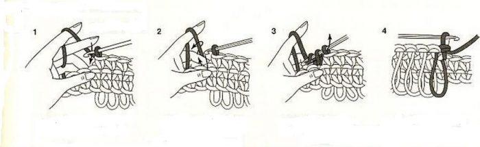 Мочалка крючком с вытянутыми петлями односторонняя схема