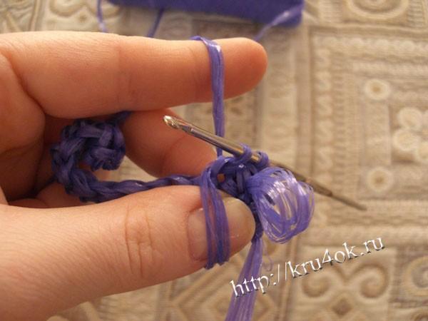Вязание мочалки крючком с вытянутыми петлями пошагово 285
