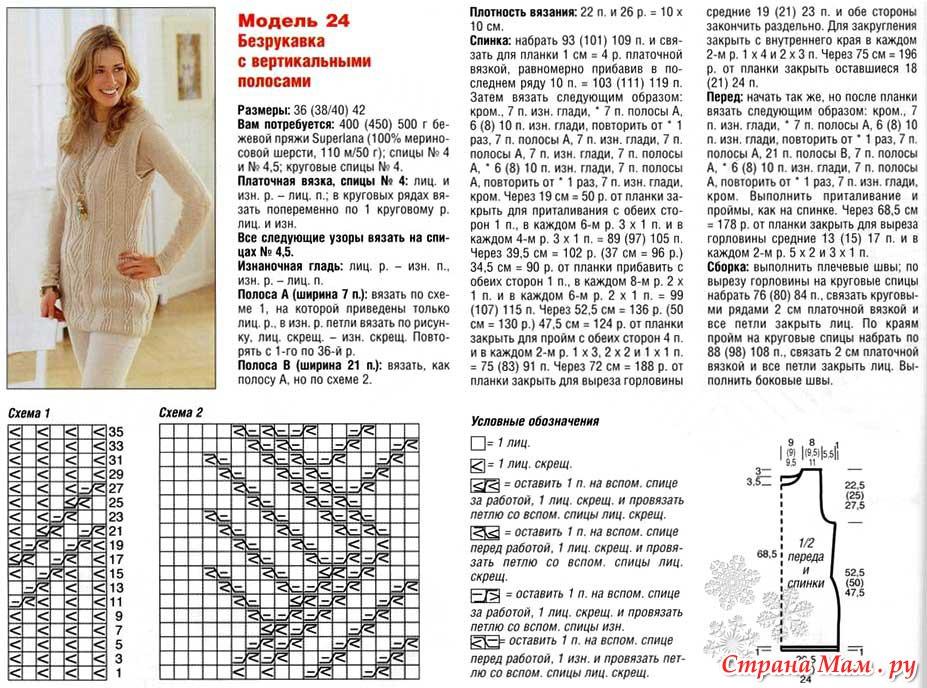 Вязание жилеты спицами схемы и описание