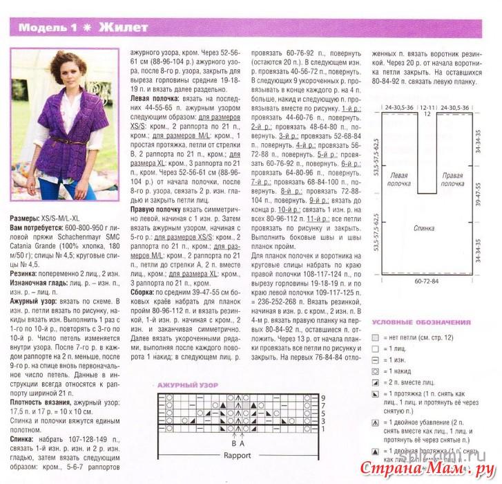 Вязание жилетки спицами для женщин с описанием и схемами 87