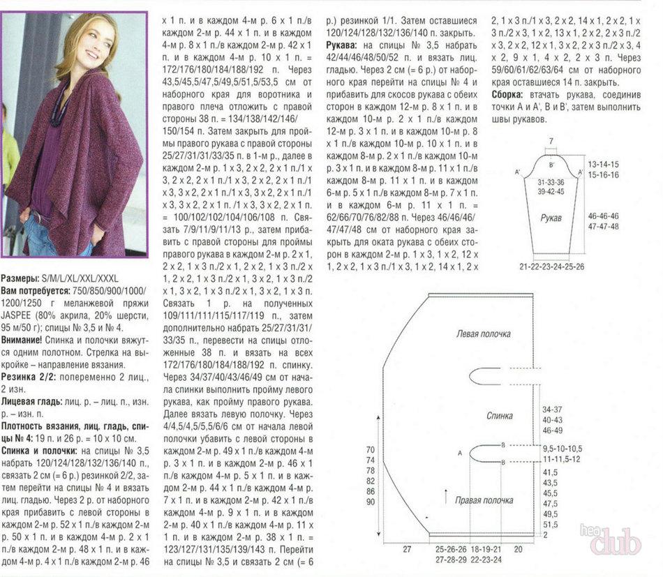 Кардиганы женские схема вязания для полных