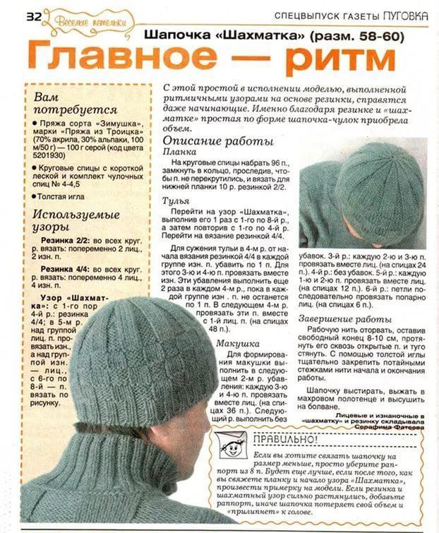 Вязание шапок крючком для мужчин с описанием