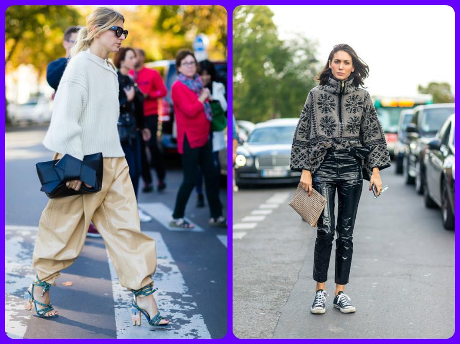 0d6aad3663cc Skutočný jarný luk v Paríži je eko-kožená sukňa v kombinácii s bundami